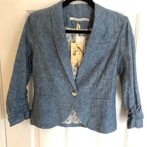 NWT GIBSON Chambray Linen Blazer Ruched Sleeves